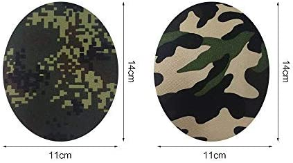 12 Pcs Camouflage Oval Shape Fabric Patches for Repair Sewing Elbow Knee Iron on Appliques
