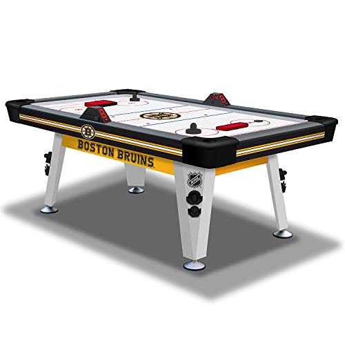 NHL Air Powered Hockey Table - Boston Bruins - 84 Inch - Features Scratch Resistant Material, Automatic Scoring, and Built-In Accessory Storage -