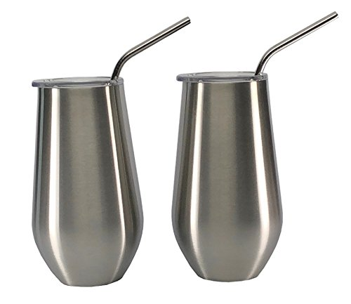 Insulated Double Walled and Vacuum Sealed 16 oz Stainless Steel Elegant Wine Glass Tumbler Set of 2 with Lids and Stainless Steel Straws - No Sweat - No Seams - Enjoy Beer Iced Tea Water Soda Coffee