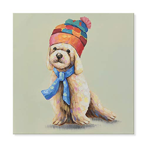 Frame Poodle (SEVEN WALL ARTS - 100% Hand Painted Oil Painting Animal Cute Poodle Wears a Colorful Hat with Stretched Frame 24 x 24 Inch)
