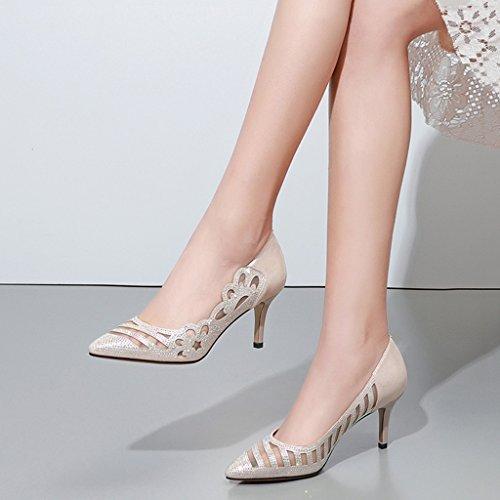 en chaussures female bien Couleur 38 mode Blanc de hauts Or femmes Shoes la avec talons Rose maille Single taille shoes des de sexy des creuse long240mm 7qxE5vZw