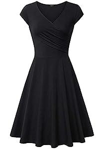 Laksmi Elegant Dresses, Womens Casual Dress A Line Cap Sleeve V Neck
