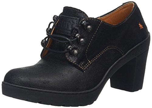 Art Travel Lace Heeled Shoe - Zapatos de tacón Derby para mujer Negro (Waxy Black)