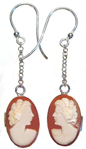 Carved Shell Cameo Earrings - Cameo Earrings Master Carved, Carnelian Conch Shell Dual Faces Dangle Sterling Silver Italian