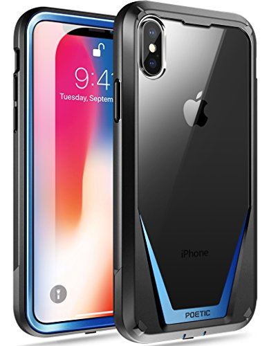 iPhone X Case, Poetic Guardian [Scratch Resistant Back] [360 Degree Protection]Full-Body Rugged Clear Hybrid Bumper Case with Built-in-Screen Protector for Apple iPhone X (Blue Back Case)