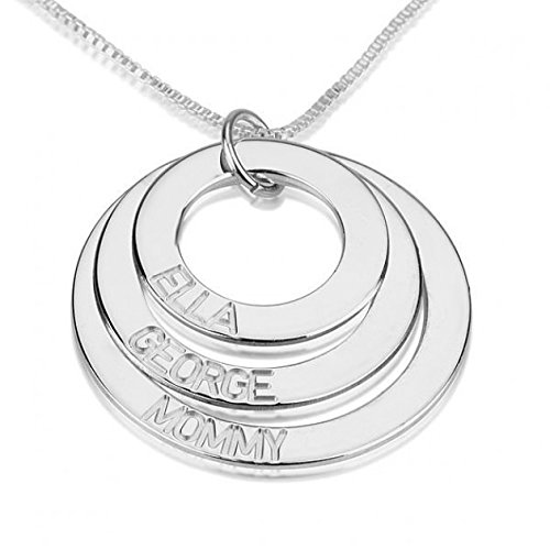 Sterling Silver Mother / Grandmother Necklace with Engraved Kids Names 2-5 Discs (3 Disks)