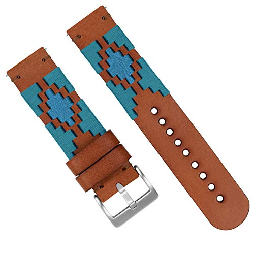 Barton Gaucho Leather Quick Release Watch Band Straps - Choose Color & Width - 18mm, 20mm, 22mm (18mm, Turquoise & -