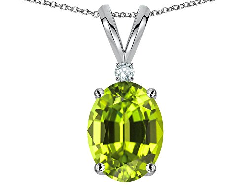 (Star K Oval 8x6mm Genuine Peridot Rabbit Ear Pendant Necklace 14 kt White Gold)