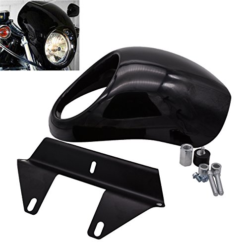 (KaTur Headlight Fairing Covers Front Head Light Cowl Fork Mount Headlamp Visor Bracket Kit for 1973 Up Harley Sportster Cafe Drag Dyna FX XL )