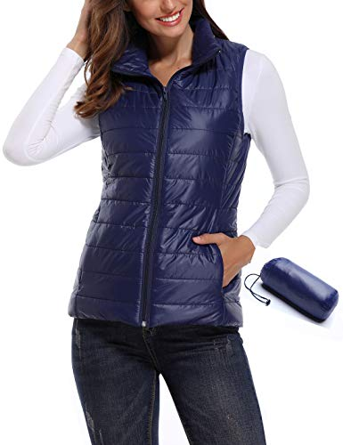 - Women's Lightweight Full Zip up Stand Collar Packable Warm Quilted Gilets Padded Puff Vest Outwear Cotton Coat Blue Large