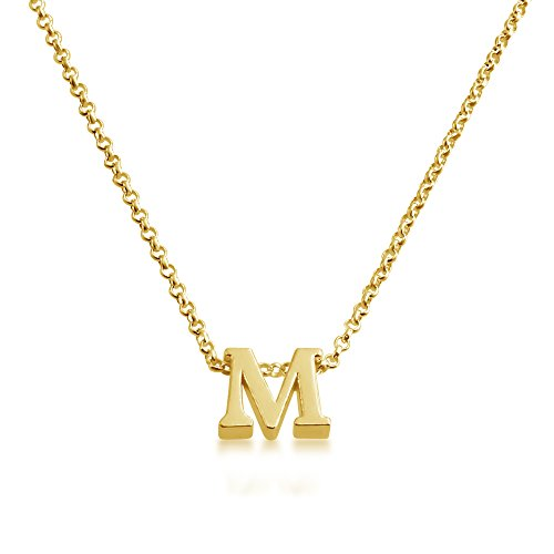 14k gold necklace with letter m amazon initial letter m personalized serif font pendant necklace 14k plated or 925 sterling silver gold plated silver 18 inches aloadofball Image collections