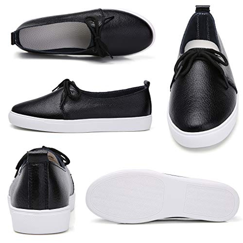 841b003edd602 KneaBorn Womens Fashion Leather Loafers Casual Flat Slip on Shoes with  Decorative Lace Size 9 Narrow Black