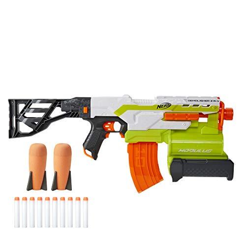NERF Modulus Demolisher 2-in-1 Motorized Blaster, Fires Darts and Rockets, Includes 10 Elite Darts, Banana Clip, 2…