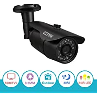 EWETON 1/4 960H 1000TVL 3.6mm Lens 24 IR Leds Had IR Cut 65 Feet Night Vision Outdoor Bullet Security Camera (Metal Housing Black)