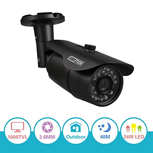 "EWETON 1/3"" 960H 1000TVL 3.6mm Lens 24 IR Leds Had IR Cut 65 Feet Night Vision Outdoor Bullet Security Camera (Metal Housing Black)"