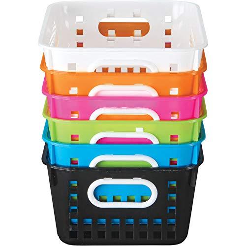 Really Good Stuff 666096 Neon Pop 6 Pack Medium Book Baskets