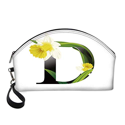 Letter D Small Portable Cosmetic Bag,Black D Silhouette Entangled with Growing Daffodils Artistic with Flowers Decorative For Women,One size