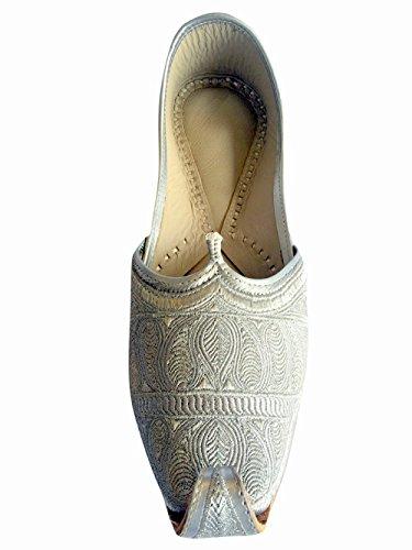 Étape N Style Mens Plat Plein Argent Zari Khussa Chaussures Traditionnel Indien En Cuir Mocassin Punjabi Jutti