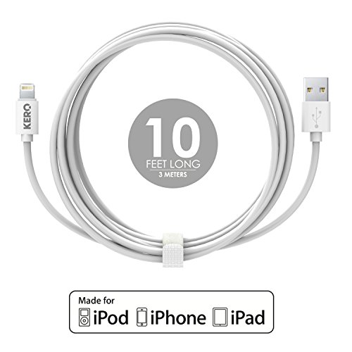 Authentic Kero Lasso Cable (LC-LW) - Apple MFI Certified Lightning Cable 10 feet long with Cable Tie - For iPhone 6/6 Plus/5C/5S, iPad 4, iPad Air