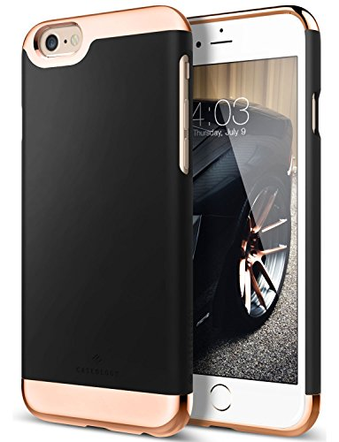 iPhone 6S Case, Caseology [Savoy Series] Chrome / Microfiber Slider Case [Black] [Premium Rose Gold] for Apple iPhone 6S (2015) & iPhone 6 (2014) - Black