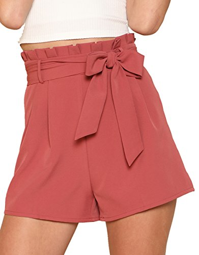 Pleated Walking Shorts - Romwe Women's Casual Summer Walking Shorts Ruffle Waist Shorts Rust XS