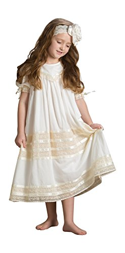 Strasburg Children Girls Savannah Heirloom Lace Flower Girl Dress (7, Ivory) by Strasburg Children