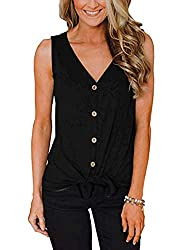 N Nora Twips Women S Summer Button Down V Neck Strappy Tank Tops Loose Casual Sleeveless Shirts Blouses Black M