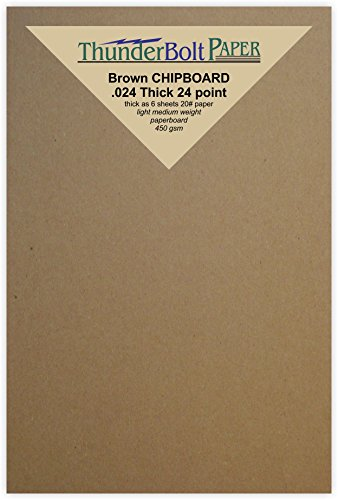 150 Sheets Chipboard 24pt (point) 3 X 5 Inches Light Medium Weight Photo|PostCard Size .024 Caliper Thick Cardboard Craft|Packing Brown Kraft Paper Board by ThunderBolt Paper