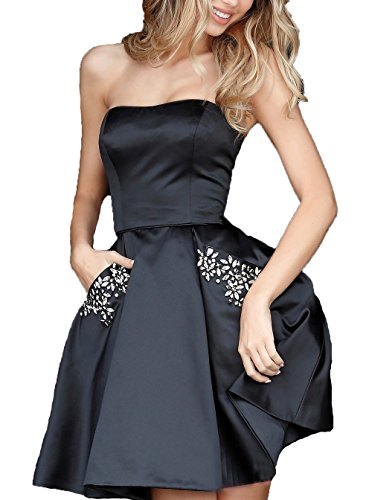 Black Satin Strapless Dress - 4