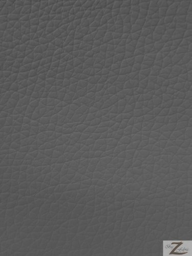 """VINYL FAUX FAKE LEATHER PLEATHER KENTAKY PVC FABRIC - Charcoal - 55"""" WIDTH SOLD BY THE YARD"""