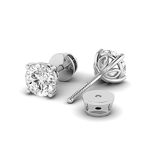 (Round Moissanite Diamond Screw Back Earrings For Women, GH Color, Clarity VVS)