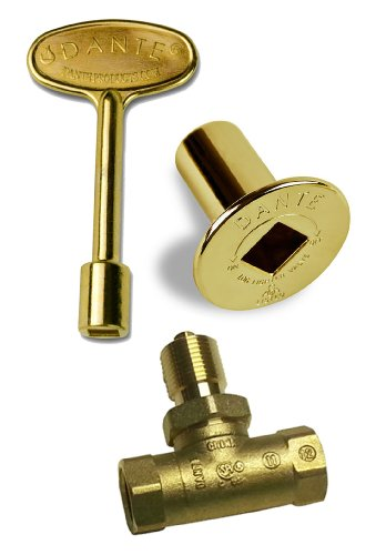 Dante Products Combo Pack with Straight 1/2-Inch, Quarter-Turn Ball Valve, Polished Brass Floor Plate and 3-inch Key