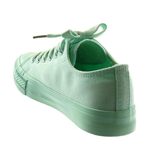 Scarpe Tacco 1 Piatto Angkorly Tacco Moda Tennis Donna Verde cm Pastello Sneaker 5 dwBCa0