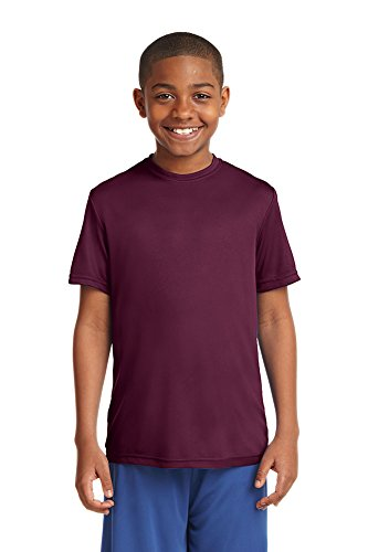 Dri-Wick Youth Sport Performance Moisture Wicking Athletic T-Shirt (Large, Maroon)