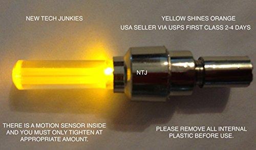 - NTJ 1 Pair LED Motion Activated Bike Bicycle Wheel Valve Stem Cap Tire Light (Orange)