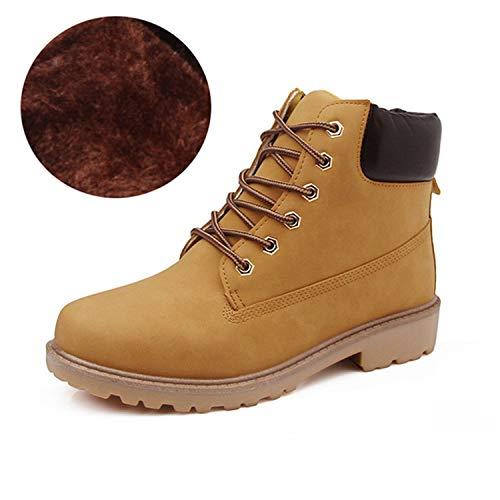 (Unisex Martin Boots Women Lace-Up Mens Shoes Plush Warm Fashion Casual Couple Rubber Ankle)