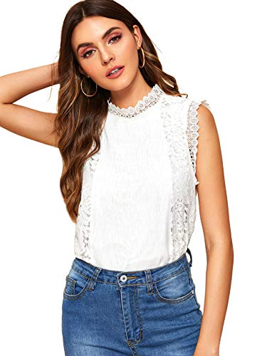 WDIRARA Women's Sheer Mesh Panel Pearl Beaded Tee Regular Fit Casual Top Blouse White XL