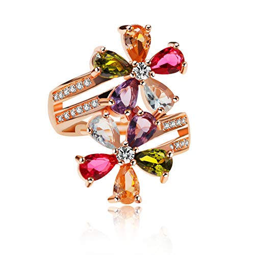Ring Gold Stone Multi (Uloveido Fashion Pear Cut Pink/White/Purple/Green/Yellow Created Tourmaline Rings, Flower October Birthstone Adjustable Rings Rose Gold Plated for Women Gift RJ134)