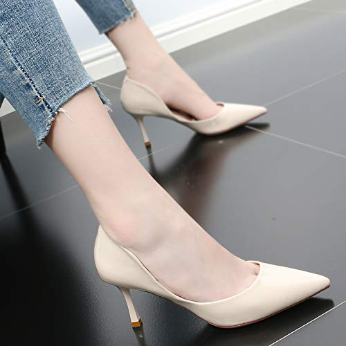 Hollow Wild 8Cm Pointy Fashion Heels Summer GTVERNH Beige shoes And High Simple Thin Shoes Women'S Sexy Fashion women's PBwqPfx7XF