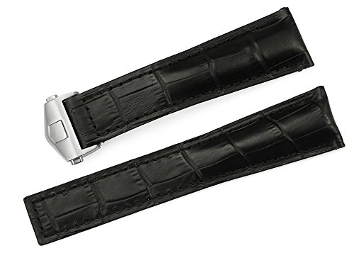 Croco Embossed Strap Watch (iStrap 22mm Calf Leather Strap Embossed Croco Grain Watch Band With Steel Deployment Clasp - Black)