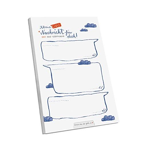 Hier kommt er endlich: Der Abreißblock für eure analogen Chat-Nachrichten - kleine Chat-Nachricht für dich! - Notizblock A6, Kalligrafie Wolken Design, Blau Weiß Rot, 25 Blatt Blau Weiß Rot Eine der Guten