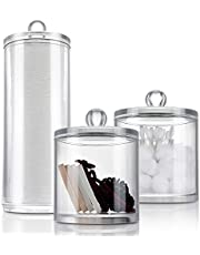 Miusco Acrylic Makeup Accessories Organizers Set, Q Tips Cotton Balls and Swabs Holders and Makeup Cotton Pads Dispenser