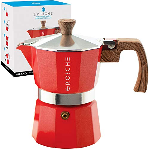 GROSCHE Milano Stovetop Espresso Maker Moka Pot 3 Cup – 5oz, Red – Cuban Coffee Maker Stove top coffee maker Moka Italian espresso greca coffee maker brewer percolator