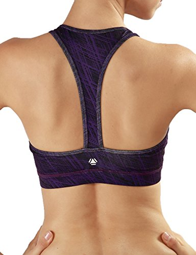 Yoga Reflex Women's High Impact Printed Racerback Strap Workout Removable Pads Yoga Sports Bra , Grungestripepurple , XX-Large (Sports Bra Extra Padding compare prices)