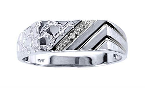 Mens Diamond Nugget Ring 14K WHITE Gold Diamond Ring