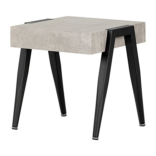 South Shore Industrial End Table for Living Room, Gray & Black