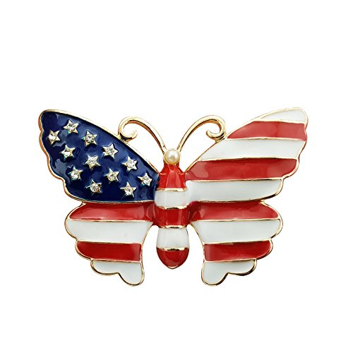 YOQUCOL Simulated Pearl Gold Tone United States American Flag Enamel Butterfly Brooch Pin