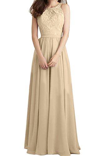 Lang Festlich Champagner Brautjungfernkleider Damen Ivydressing Promkleid Rueckenfrei Ballkleid Abendkleider 5PEFq