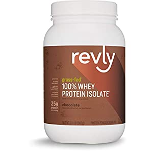 Amazon Brand Revly 100% Grass Fed Whey Protein Isolate Powder, Chocolate, 2.11 lbs, 30 Servings, No added rbgh/rbst‡, no artifical colors, flavors, or sweeteners