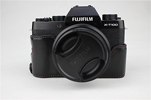 X-T100 Case, BolinUS Handmade PU Leather Half Camera Case Bag Cover Bottom Opening Version for Fujifilm Fuji X-T100 XT100 With Hand Strap -Black